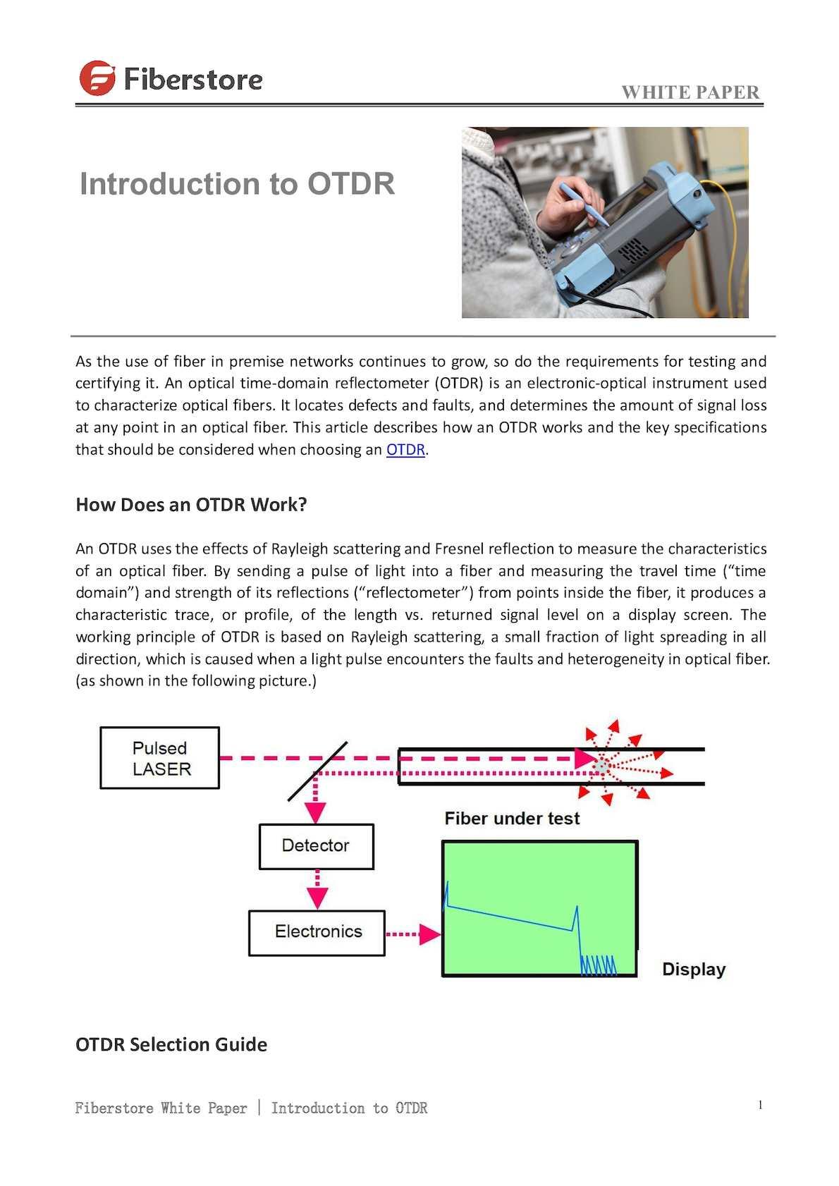 Calamo Introduction To Otdr Fiberstore
