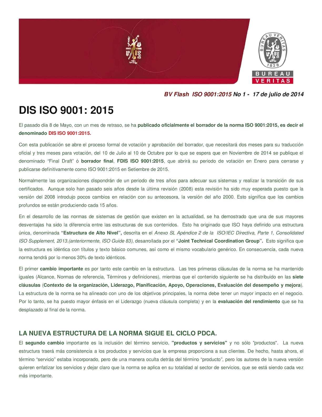 Resumen DIS ISO 9001:2015