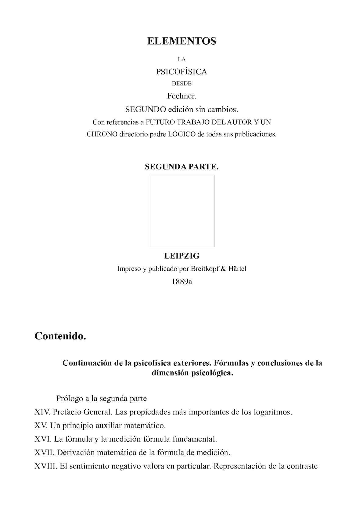 Calaméo - Elementos La Psicofísica 02 Castellano Gustav Theodor Fechner