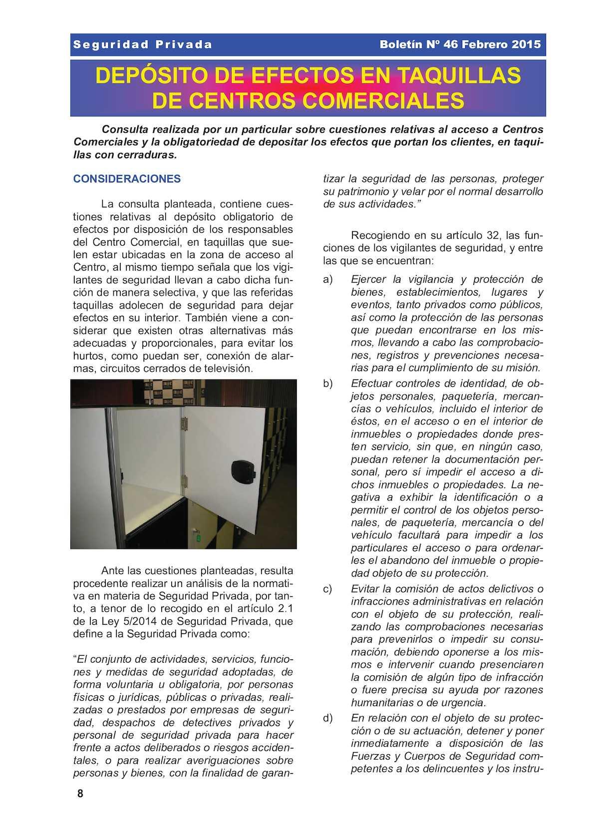 CC - Deposito De Efectos En Taquillas De Centros Comerciales Segurpri 046