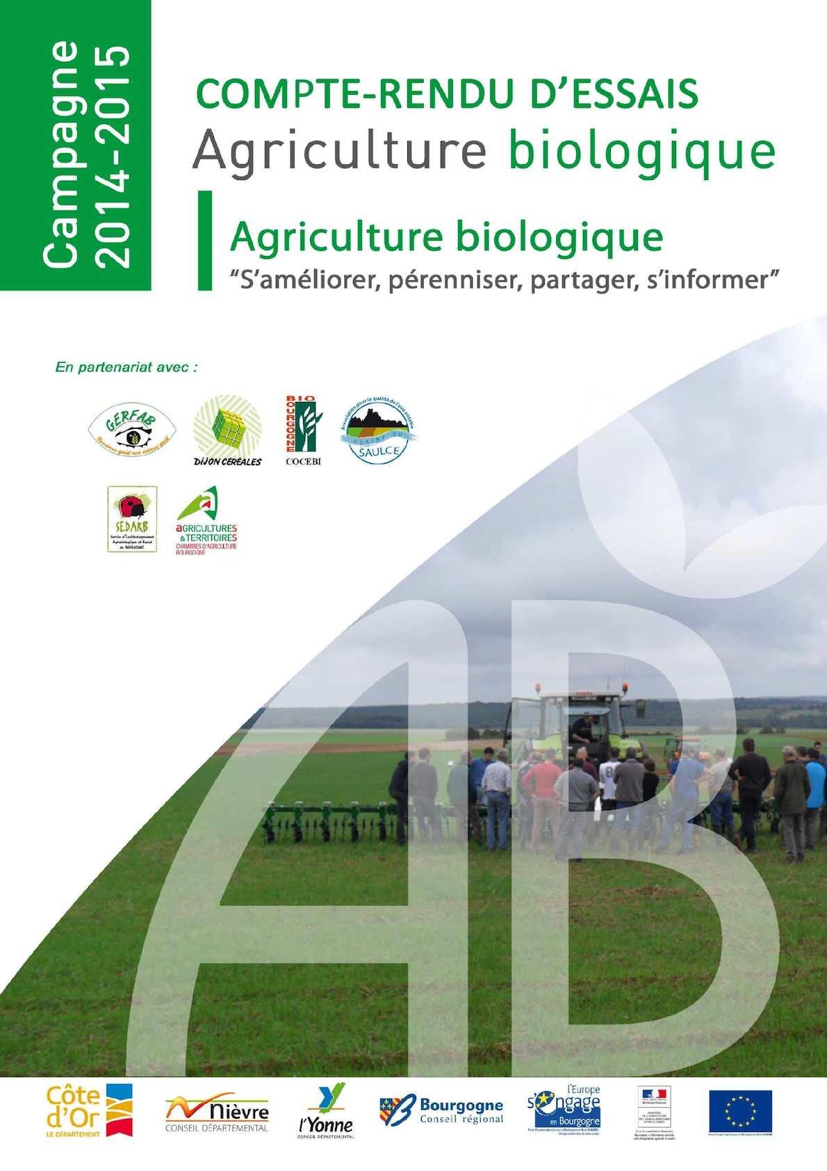 Calam o compte rendu essais bio bourgogne 2014 2015 - Chambre agriculture yonne ...