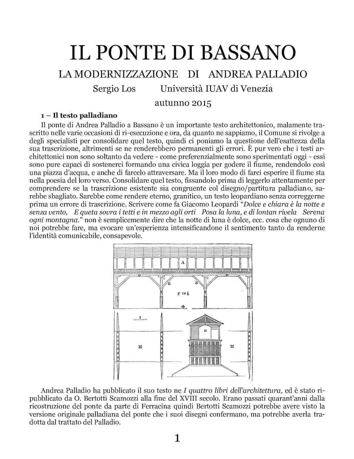 Il Ponte Di Bassano - La Modernizzazione Di Andrea Palladio