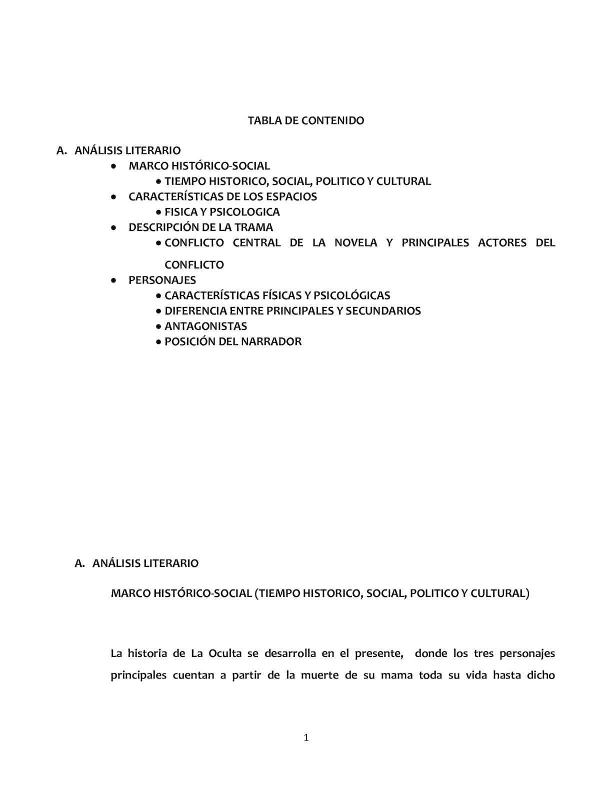 Analisis Literario De La Oculta