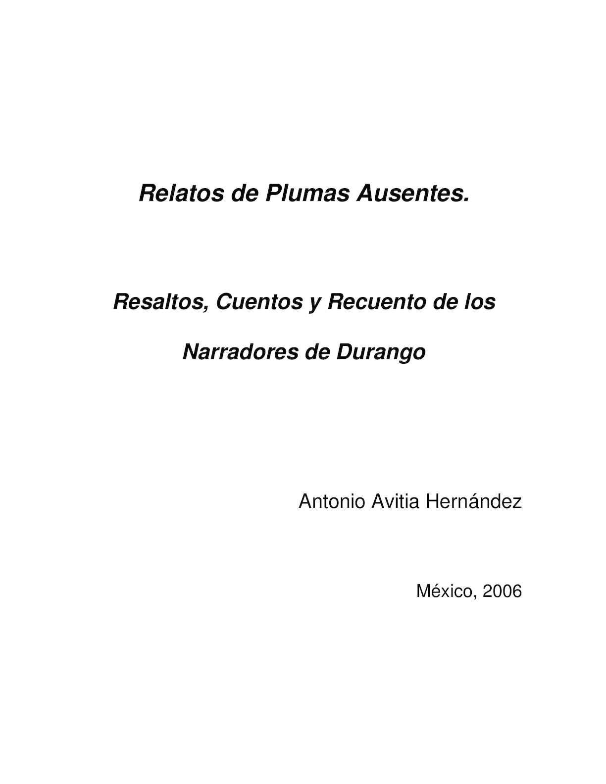 Calaméo - Relatos De Plumas Ausentes. Resaltos, cuentos y recuento ...