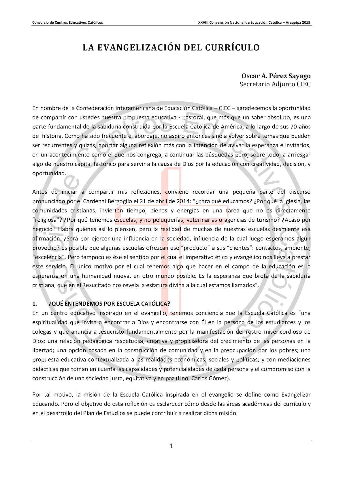 Calaméo - PONENCIA III - LA EVANGELIZACIÓN DEL CURRÍCULO