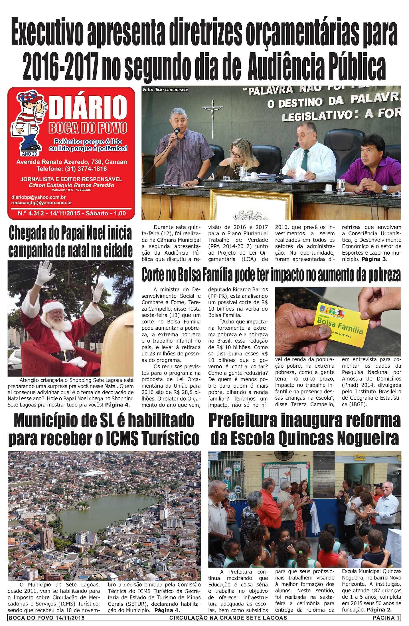 Calam O Jornal Di Rio Boca Do Povo De S Bado Dia 14 De Novembro De