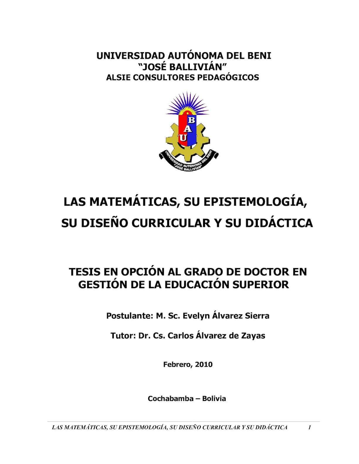 Las Matemáticas, Su Epistemología,su Diseño Curricular Y Su Didáctica