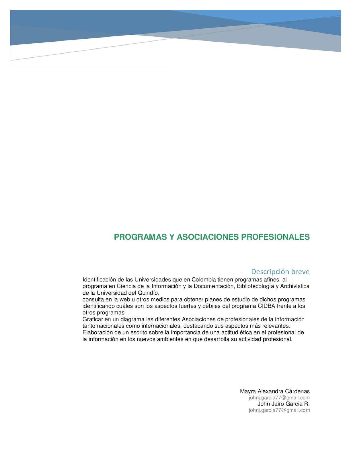 Programa Y Asociaciones Profesionales
