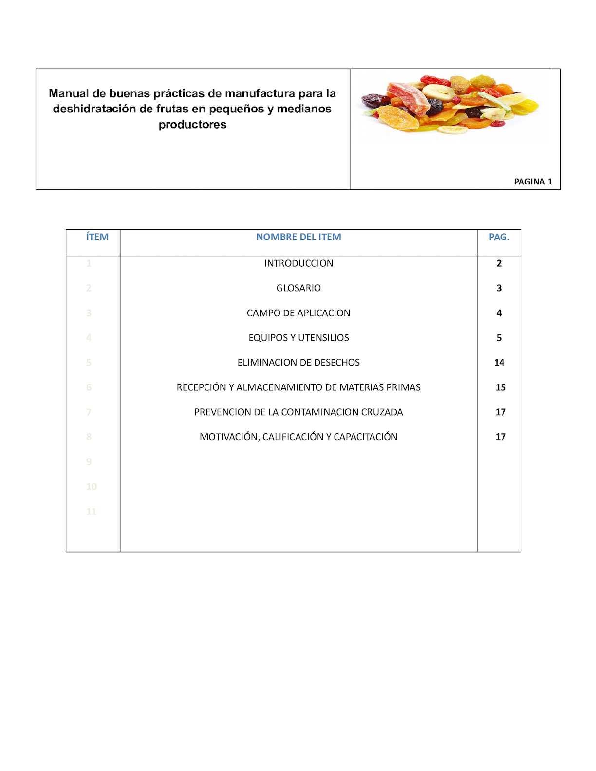 Manual De Buenas Practicas De Manufactura En Frutas