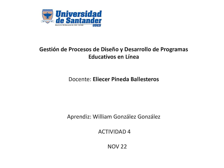 William Gonzalez Actividad 4 Pdf gestion en linea