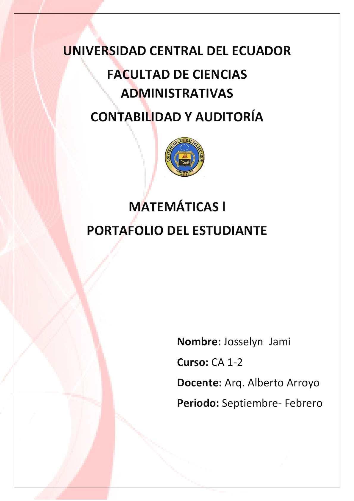 Calaméo - Josselyn Jami Ca 1 2 Portafolio Matematicas L