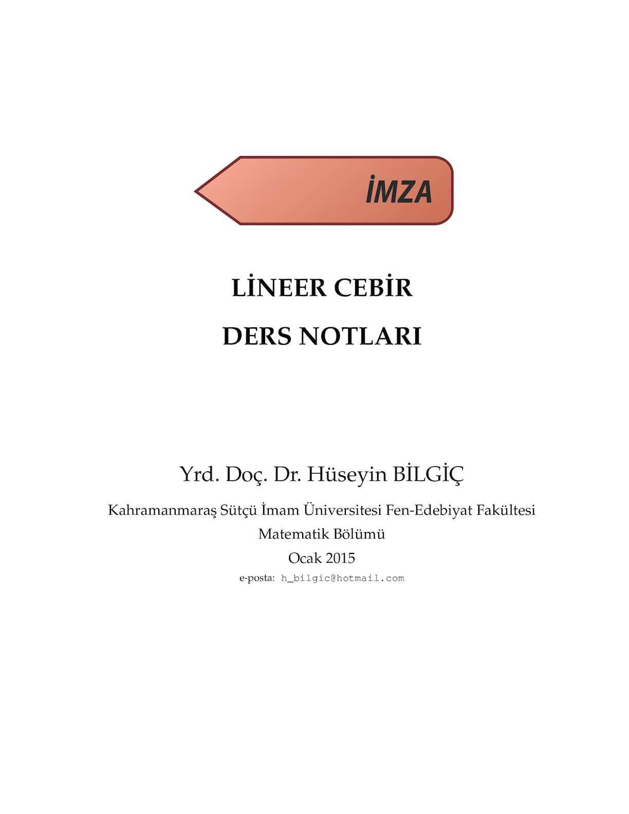 Lineer Cebir - Yrd.Doç.Dr. Hüseyin Bilgiç