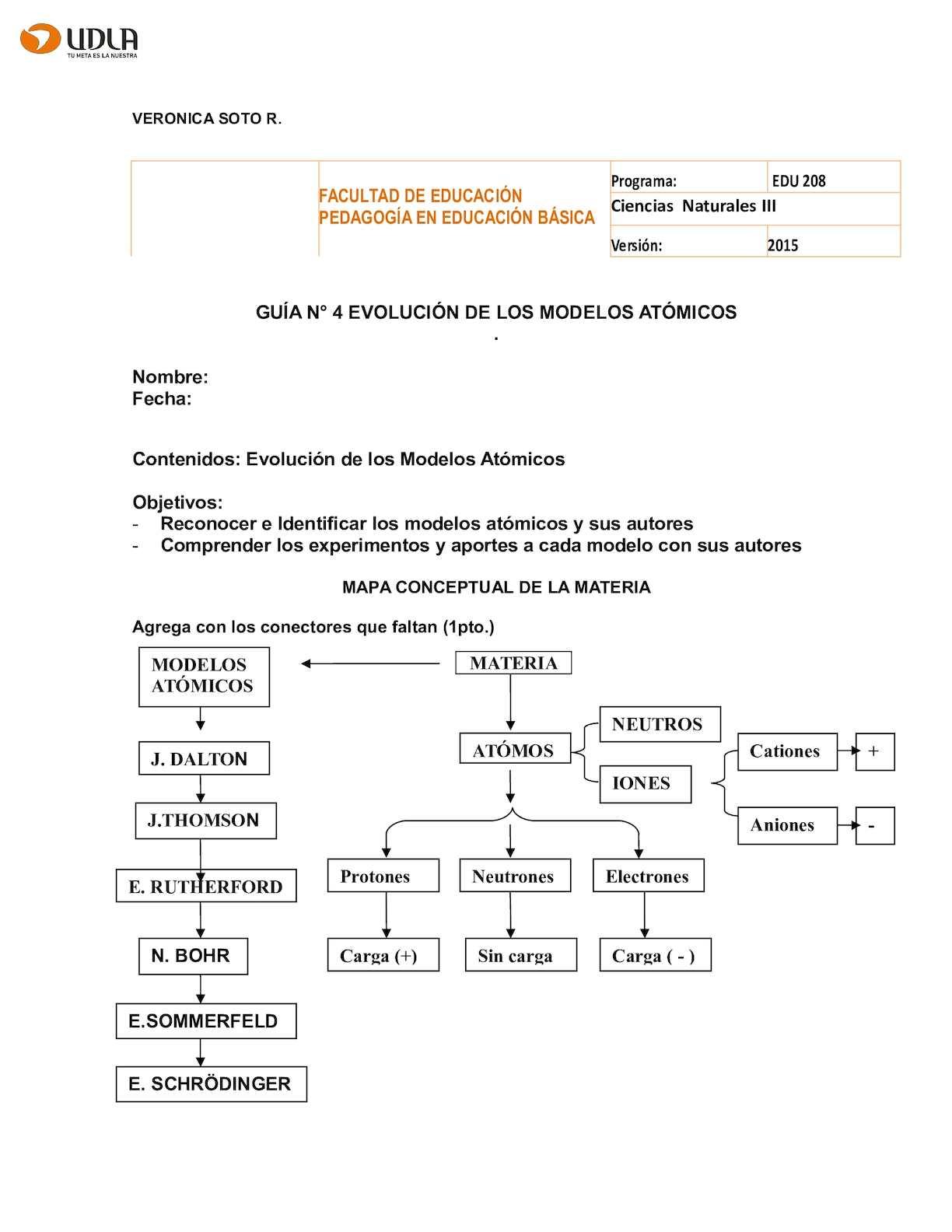 Guia N°4 Evolución De Los Modelos Atómicos (1)