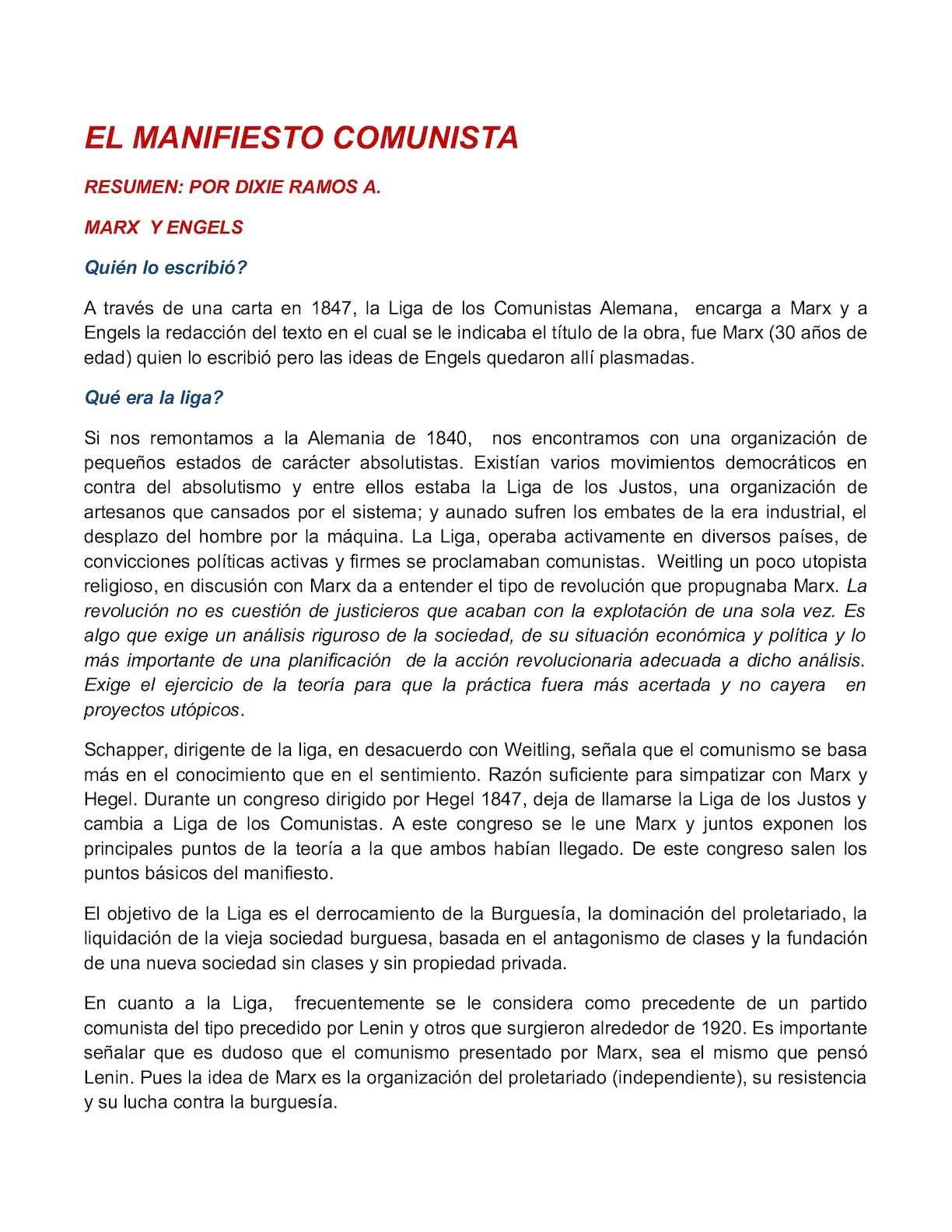 Calaméo - Resumen El Manifiesto Comunista Calameo