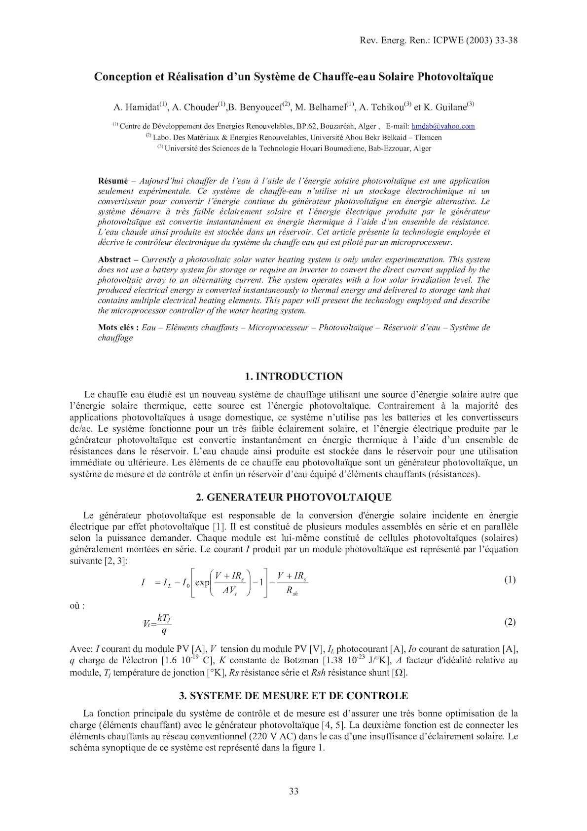 Conception Et Réalisation D'un Système De Chauffe Eau Solaire Photovoltaïque