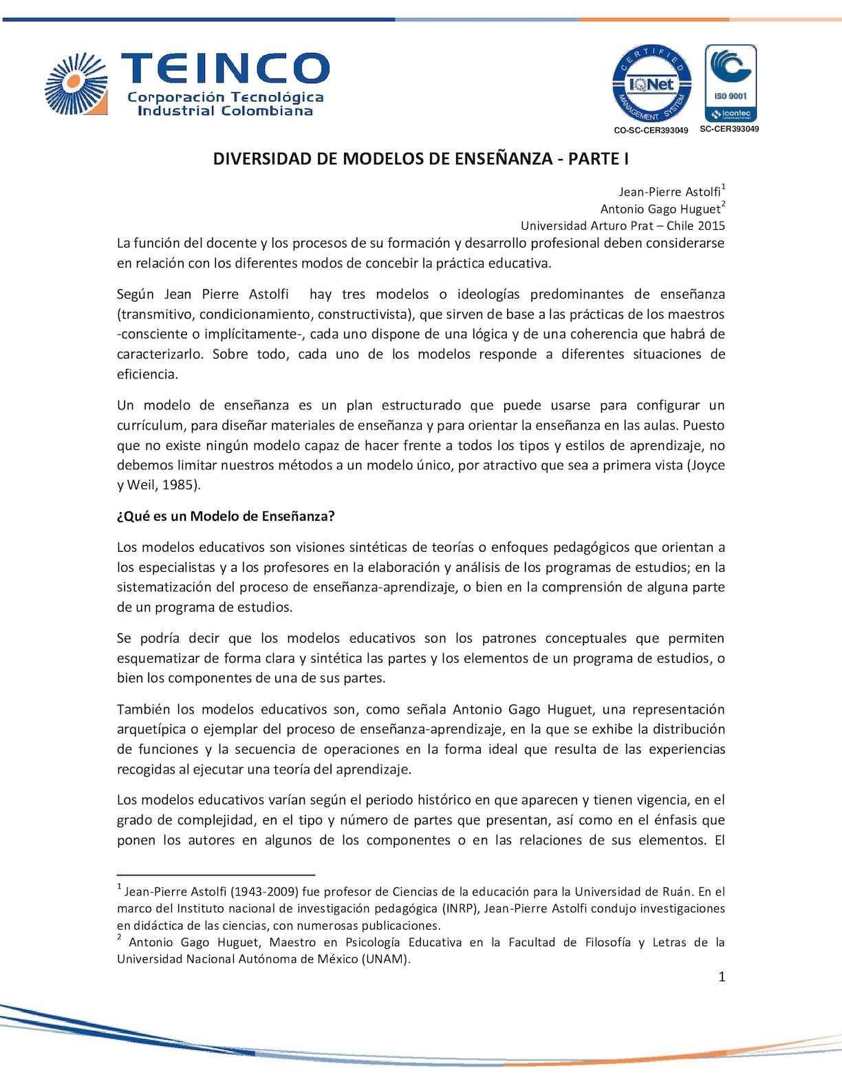 Calaméo - Documento Diversidad Modelos Enseñanza 1
