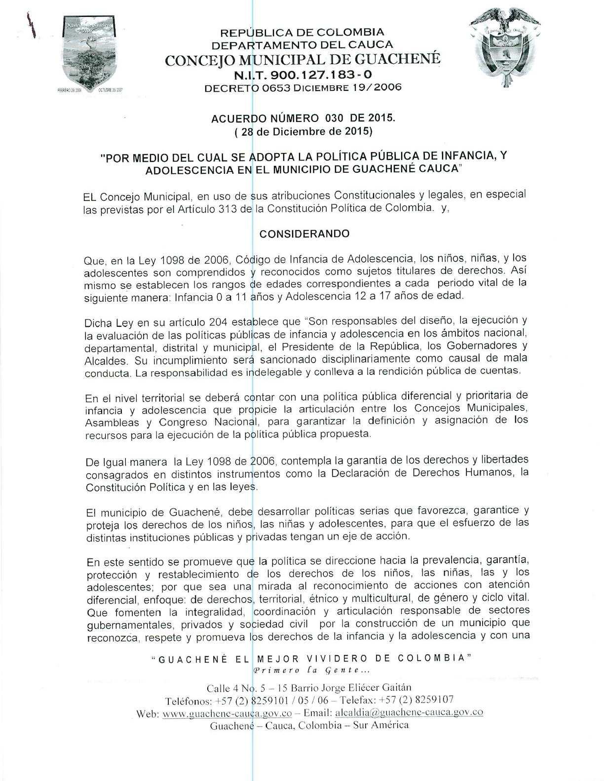 Acuerdo No. 030 de 2015 - Municipio de Guachené