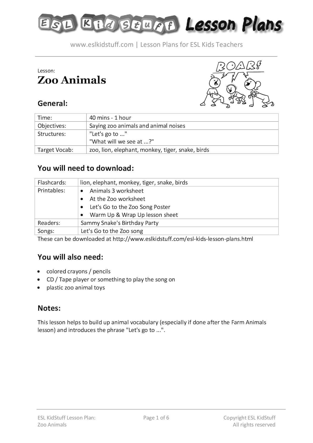 Calaméo - Zoo Animals Lesson Plan