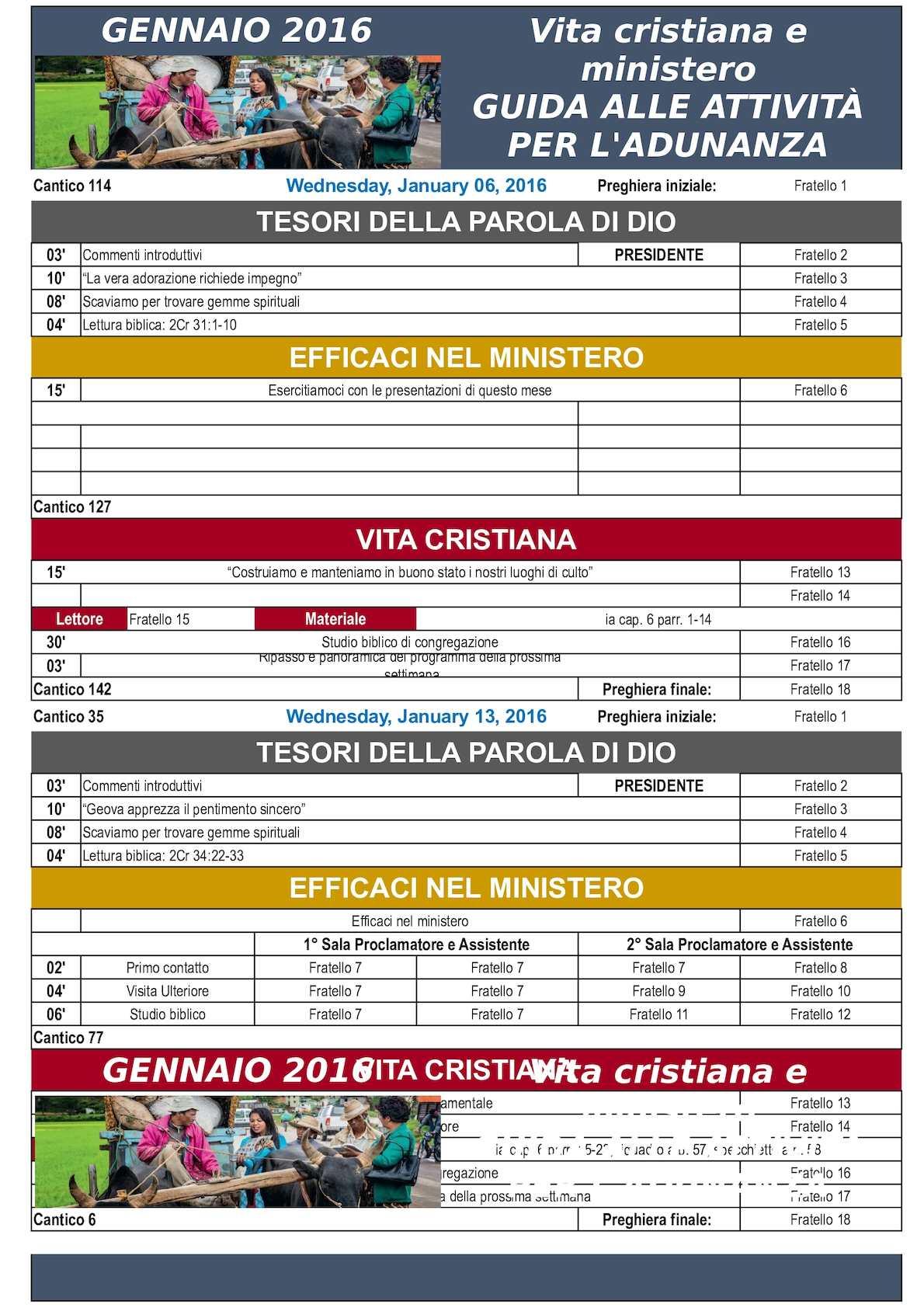Programma Bacheca 2016 VIDA Y MINISTERIO CRISTIANOS