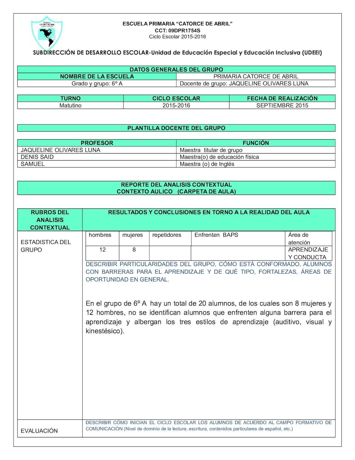 Calam o informe diagnostico 2015 2016 for Funcion de un vivero escolar