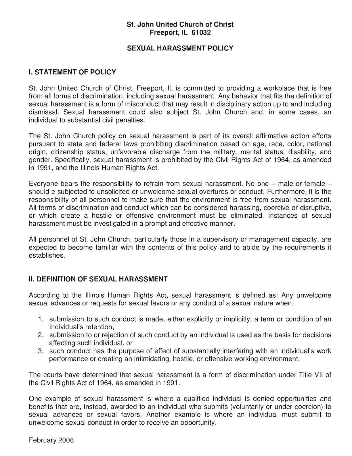 Policies regarding sexual harassment