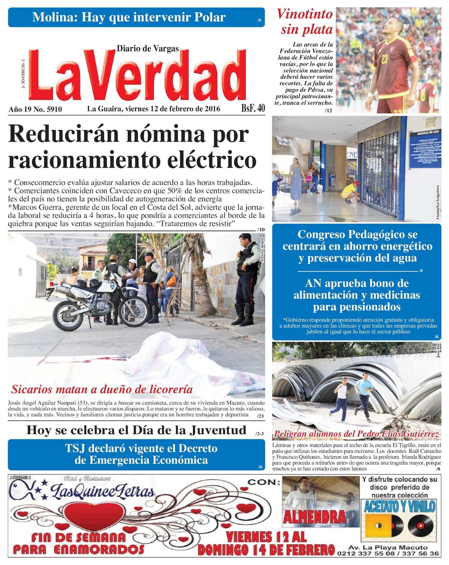 Calaméo - La Guaira, viernes 12 de febrero de 2016 Año 19 Nº. 5910
