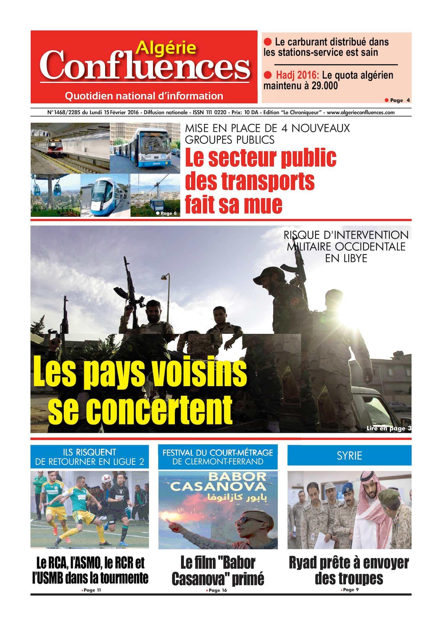 Calam o algerie confluences 15 fevrier 2016 - Service a the algerien ...