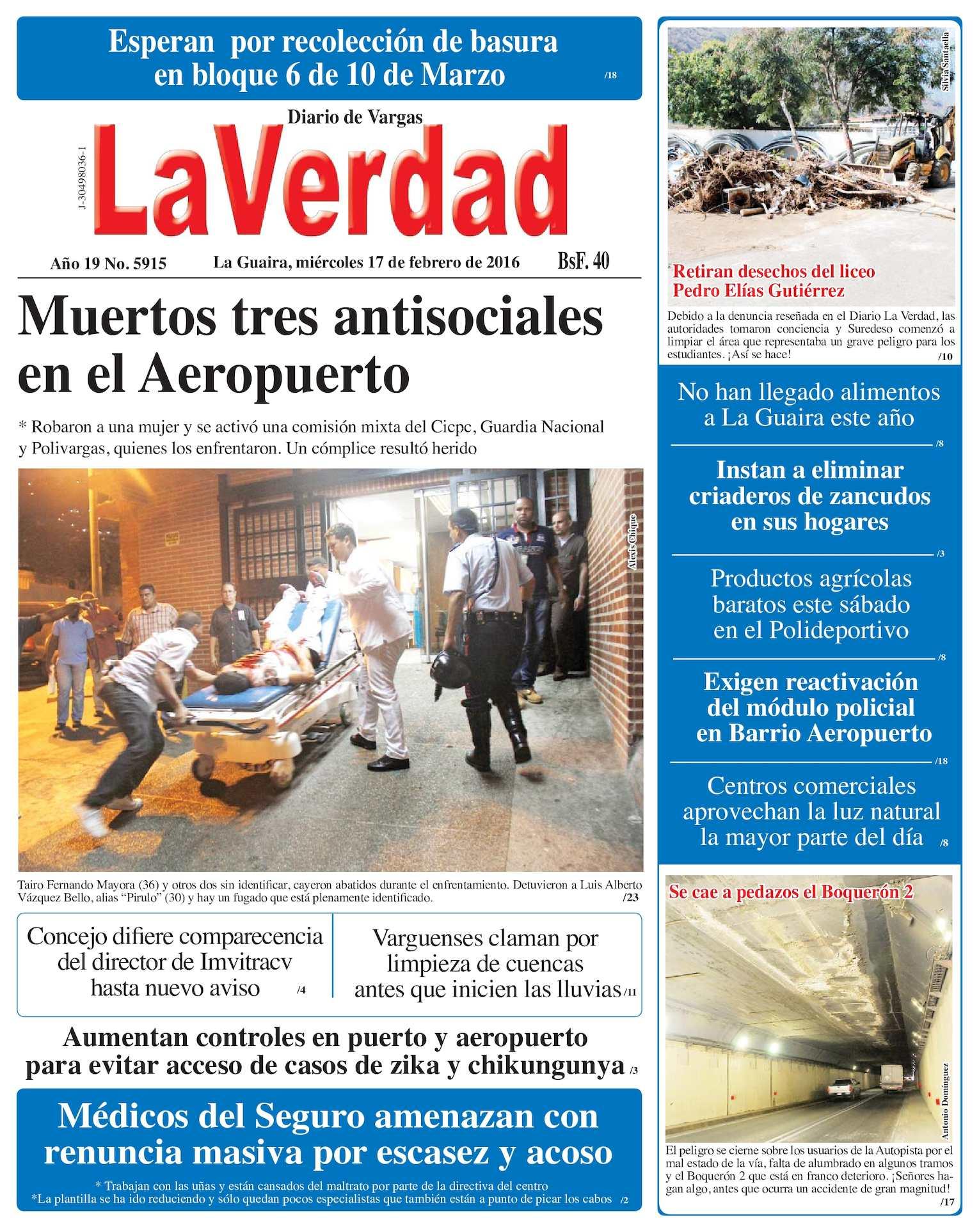 Calaméo - La Guaira, miercoles 17 de febrero de 2016 Año 19 Nº. 5915