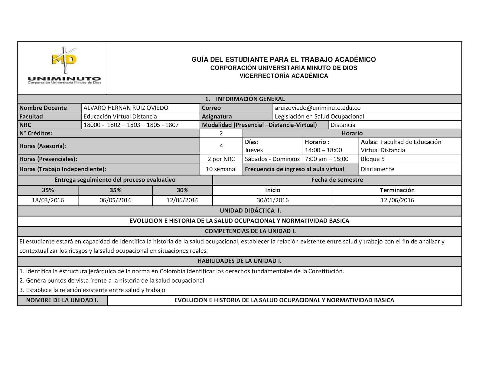 Guía Del Estudiante Legislación Salud Ocupacional