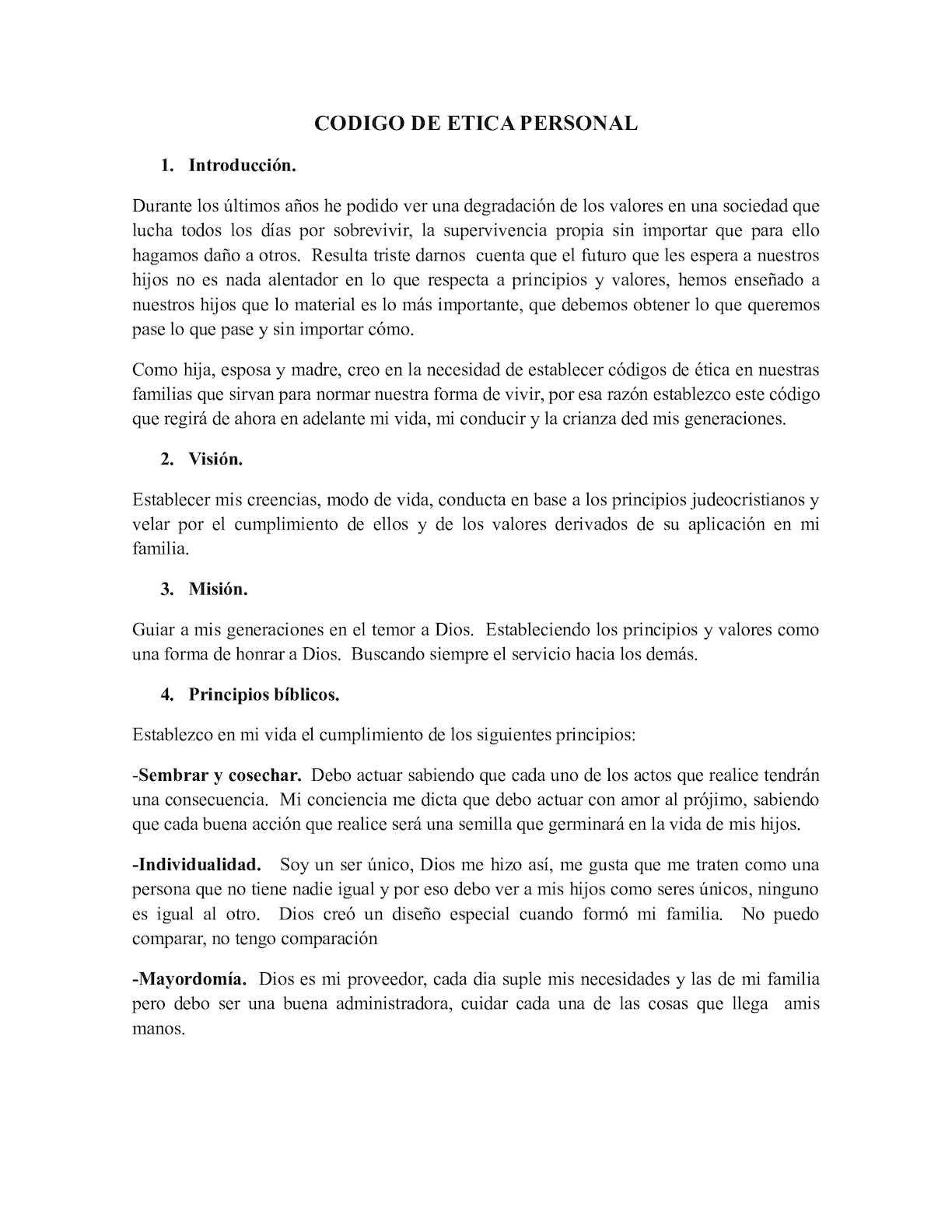 Codigo De Etica Personal