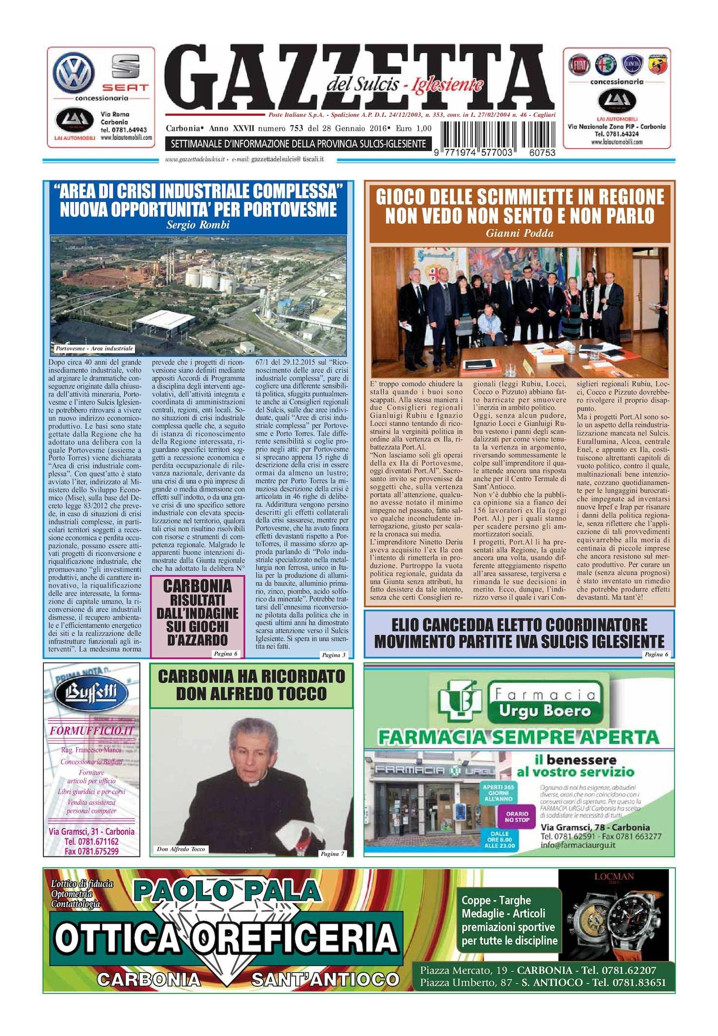 Calaméo Gazzetta Del Sulcis Iglesiente N° 753 Del 28 01 2016