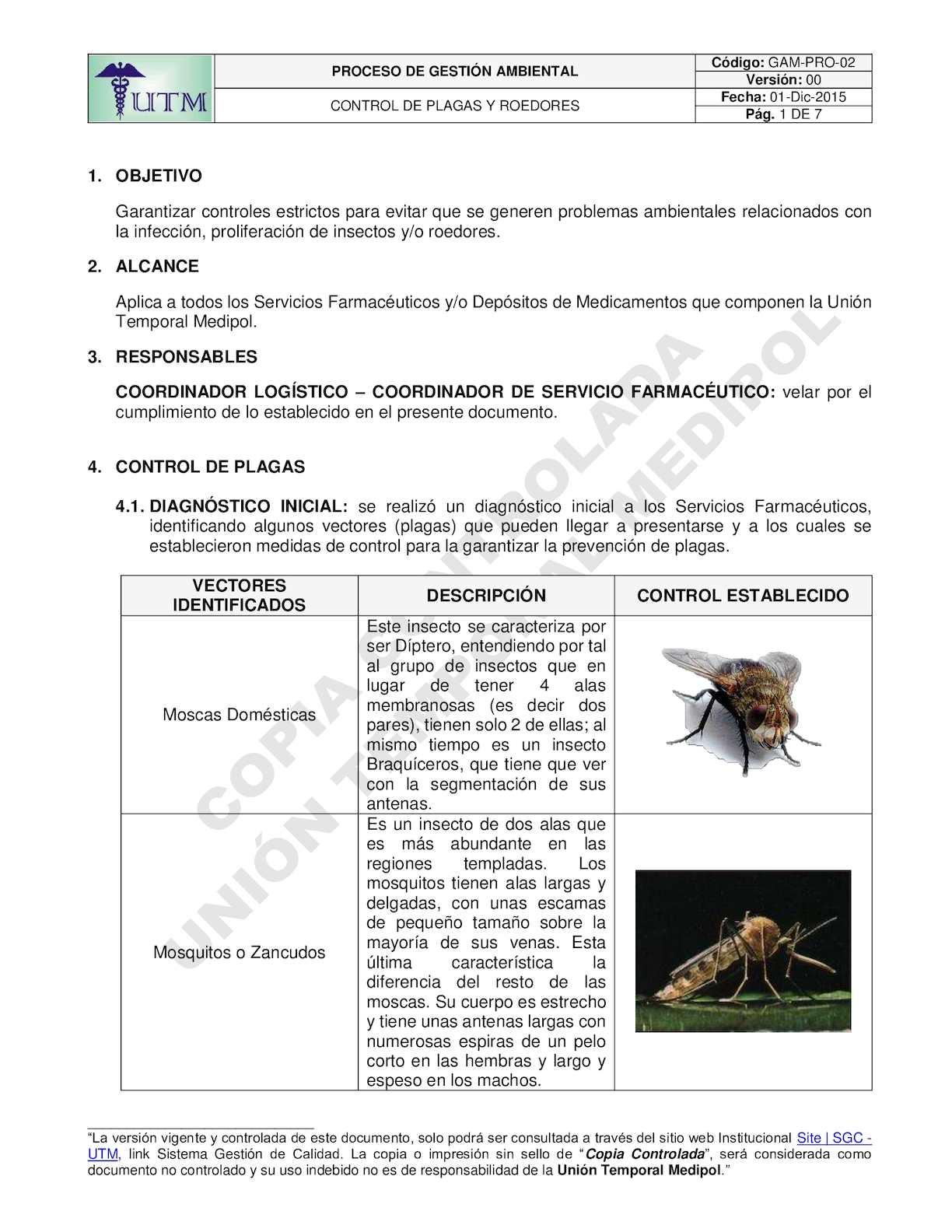 GAM-PRO-02 - PROCEDIMIENTO - CONTROL DE PLAGAS Y ROEDORES
