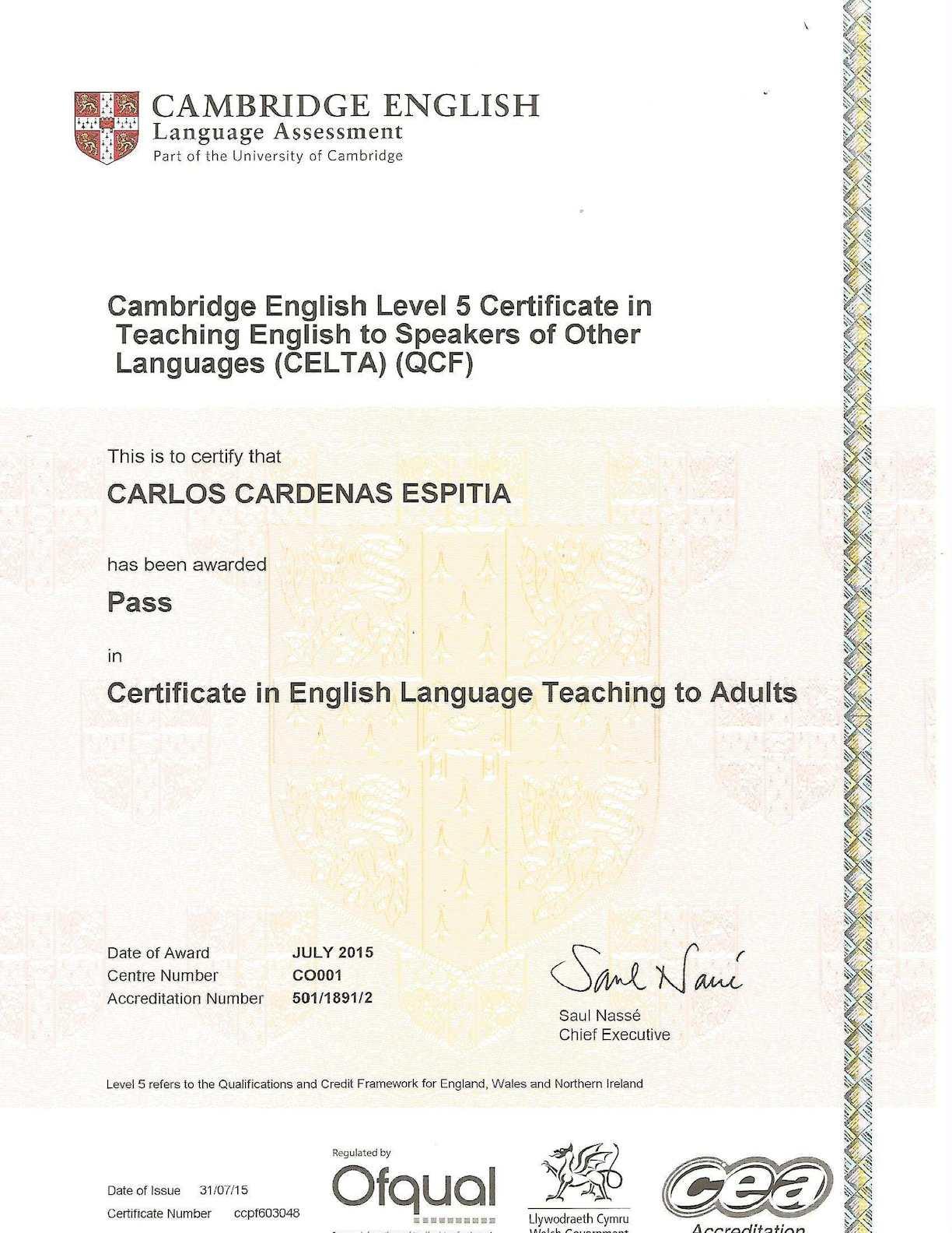 Calamo Celta Certificate