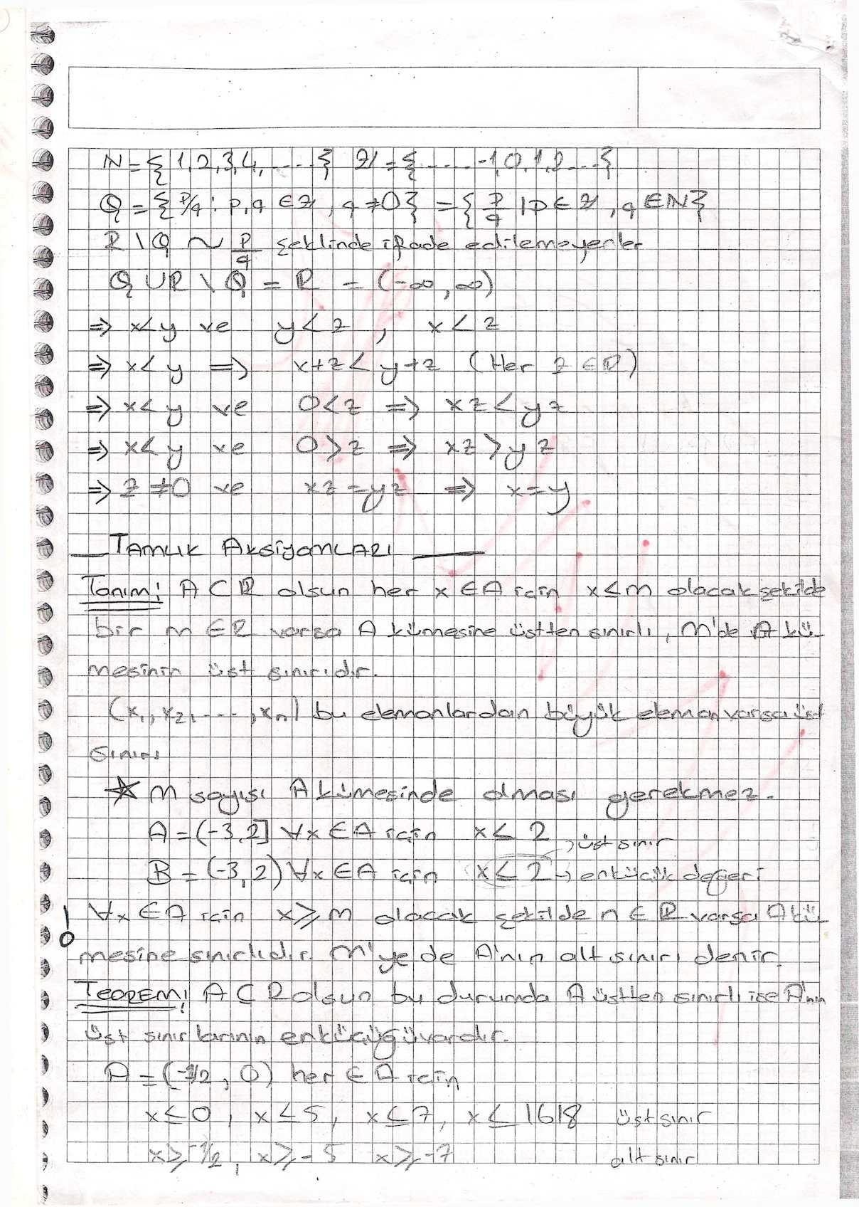Analiz I & II Ders Notları