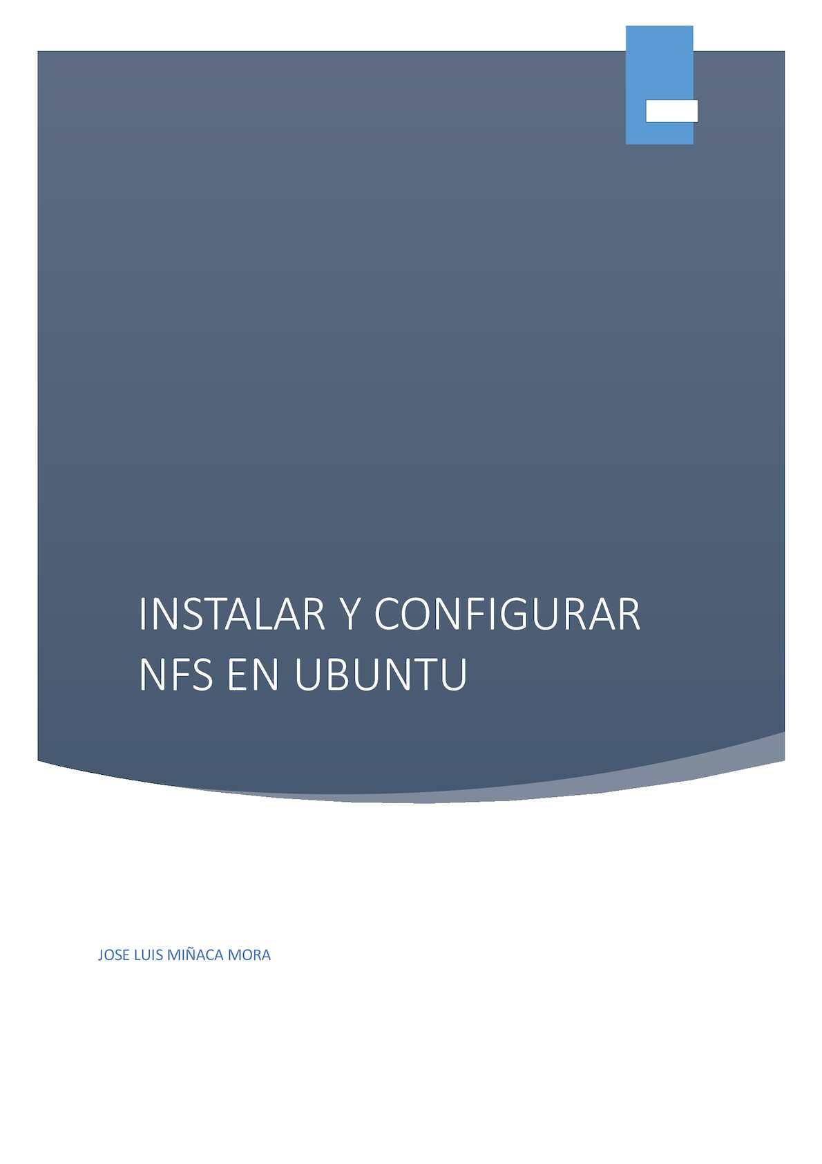 Instalar Y Configurar Nfs En Ubuntu Jose Luis Miñaca