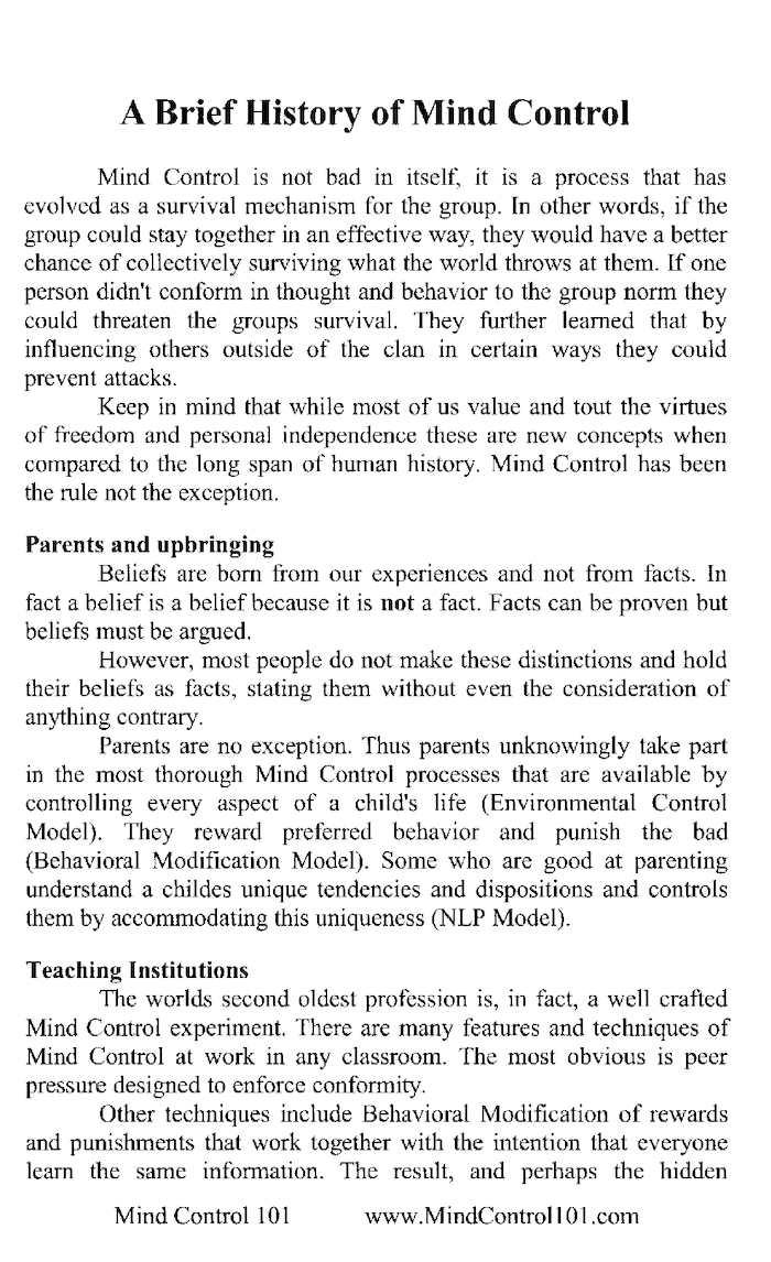 Mind control techniques - Mind Control 101 Pdf Pages Print