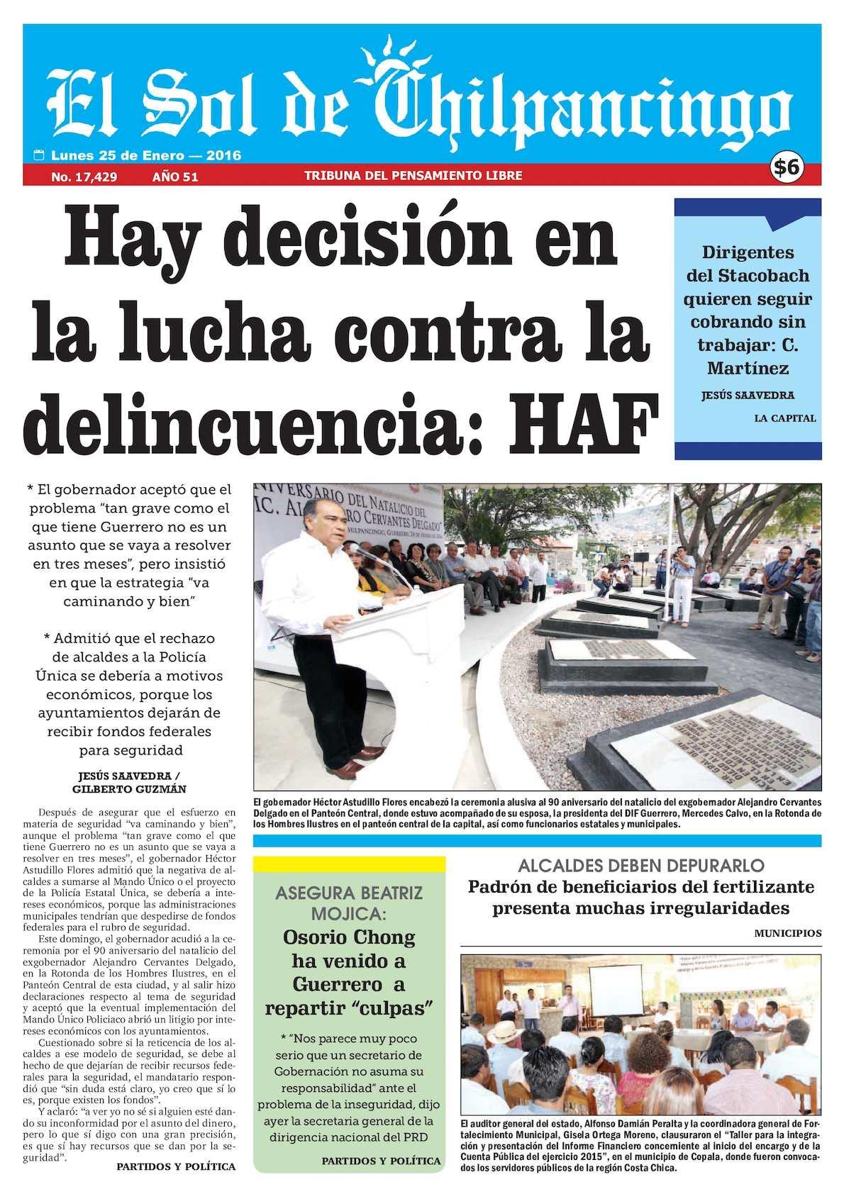 Calaméo - El Sol De Chilpancingo - 25 Enero 2016