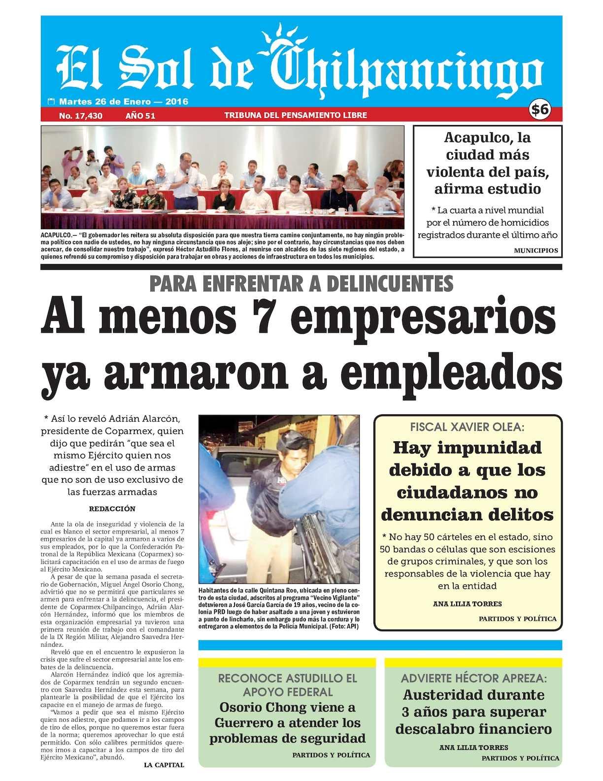 Calaméo - El Sol De Chilpancingo - 26 Enero 2016