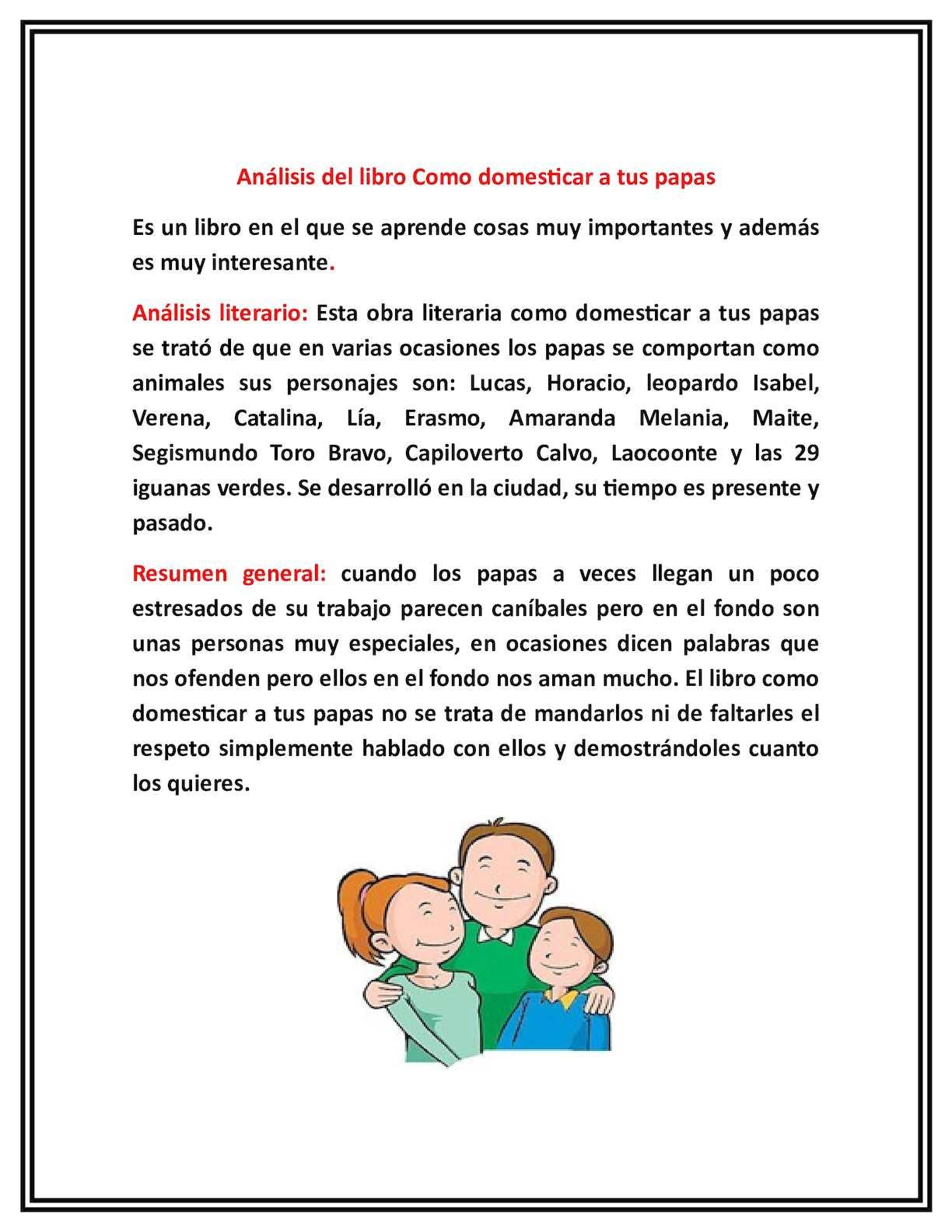 Calaméo - Analisis Literario Como Domesticar A Tus Papas