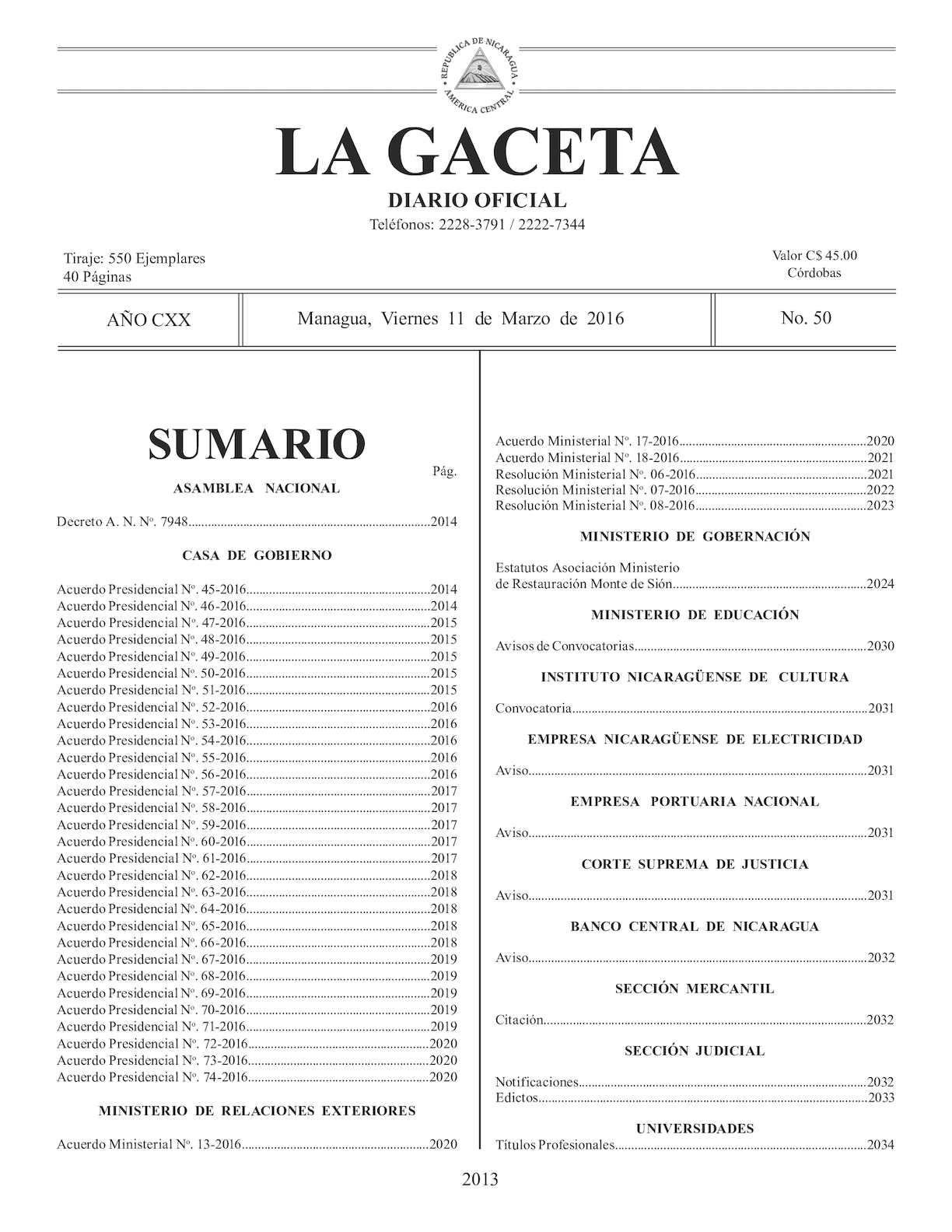 Gaceta No 50 Viernes 11 De Marzo De 2016