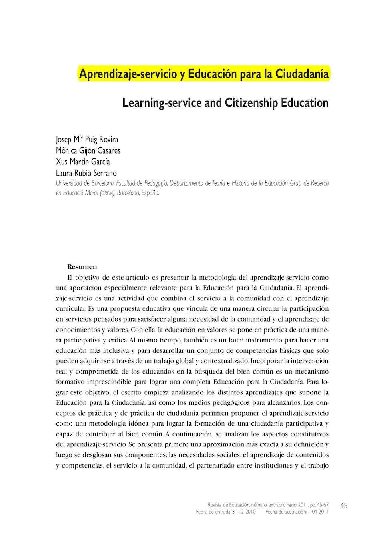 Calaméo - Aprendizaje Servicio Y Educación Para La Ciudadania