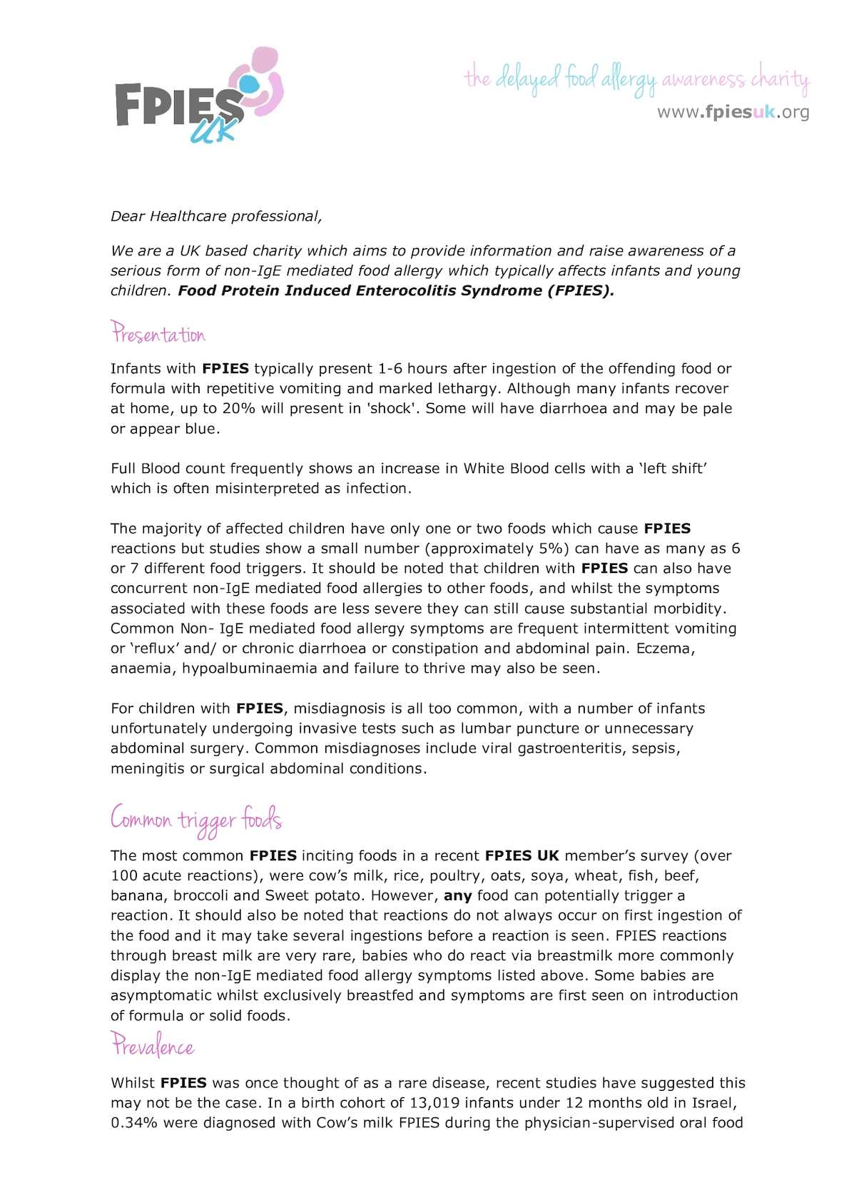 Calameo Letter For Healthcare Professionals