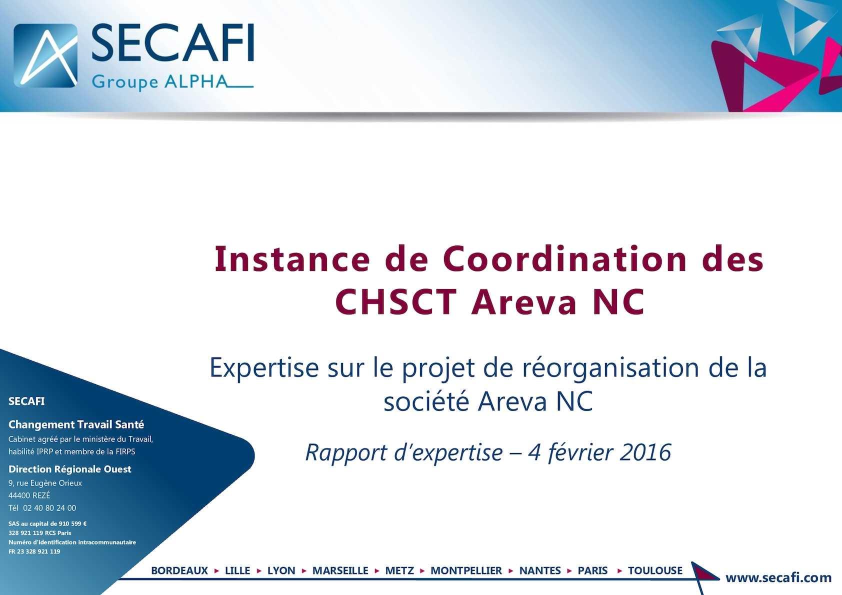 Expertise sur le projet de réorganisation de la société Areva NC