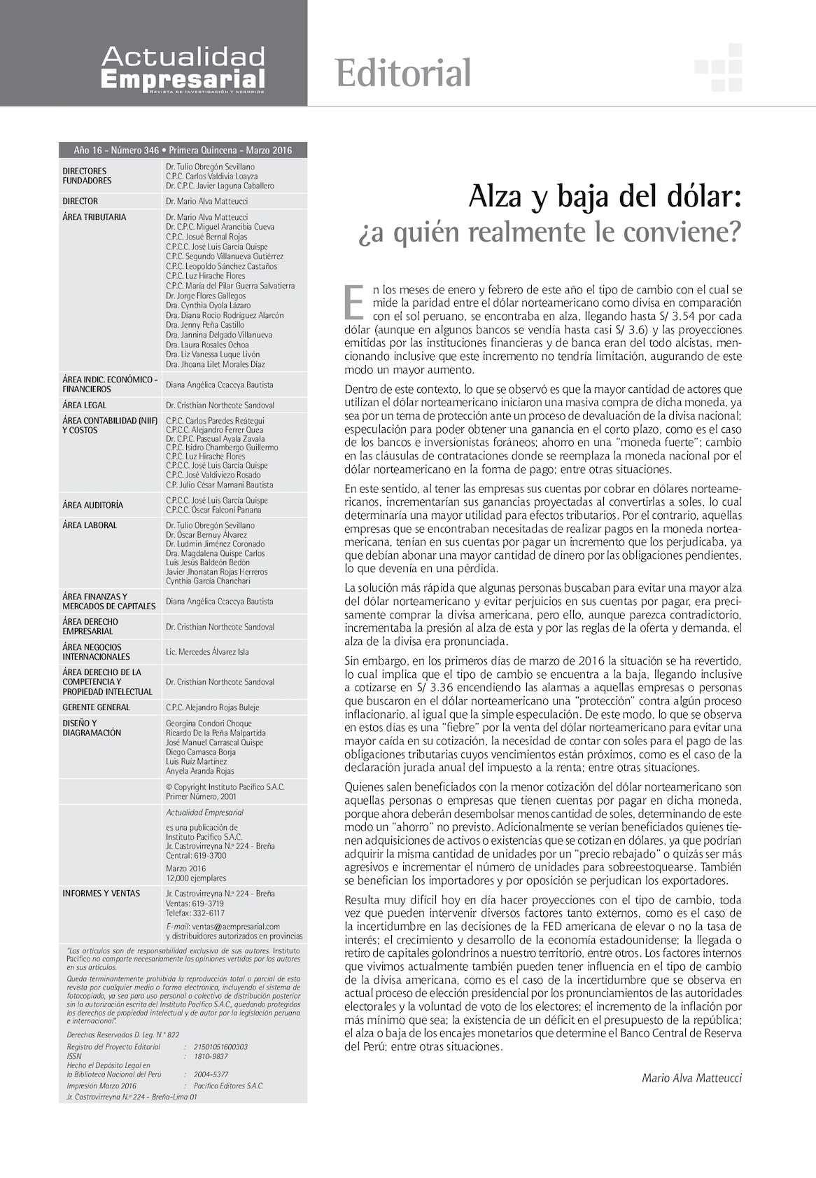 Revista Actualidad Empresarial 1ra Quincena Marzo 2016