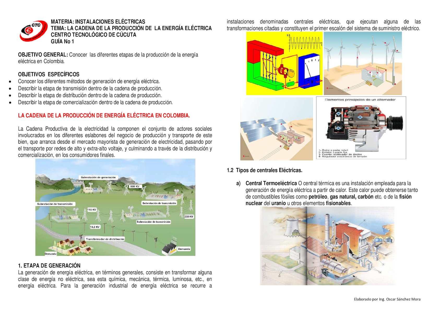 Guia 1 Cadena Generacion De Energia Electrica En Colombia