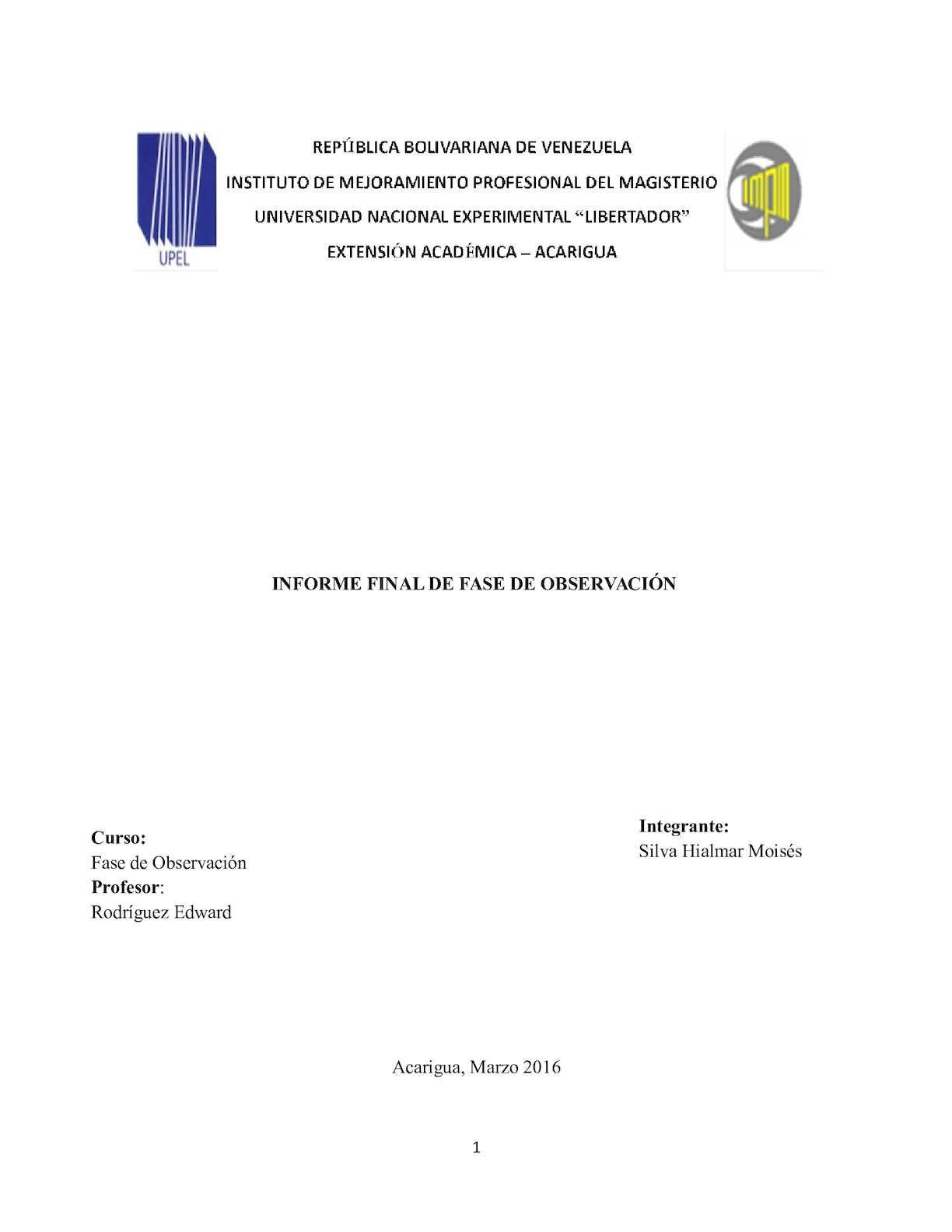 Informe Final De Fase De Observación
