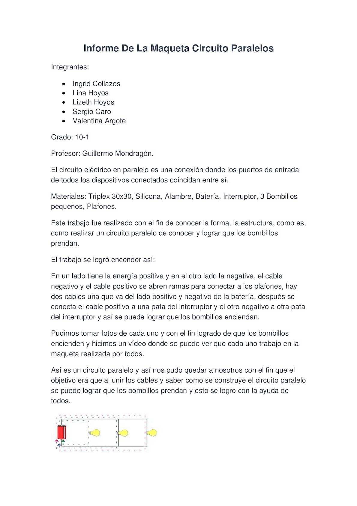 Circuito Paralelo : Calaméo informe de la maqueta circuito paralelos