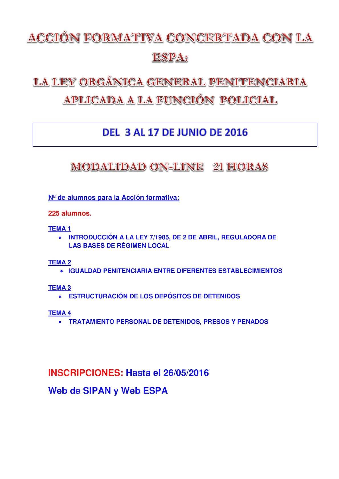 Calam o curso ley organca general penitenciaria aplicada for Ley penitenciaria