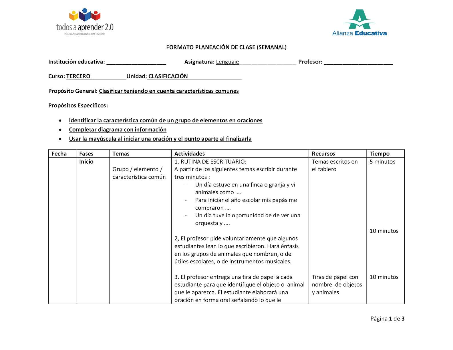 Ejemplo Planeacion Clase Lenguaje