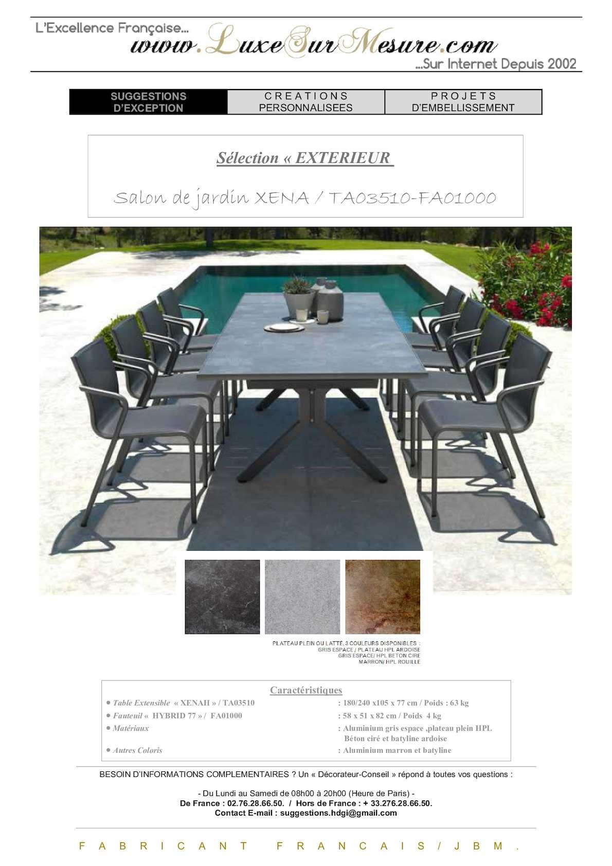 Calam o table jardin luxe table jardin haut de gamme - Table de jardin luxe marseille ...